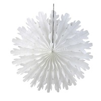 Pack of 3 White Snowflake Paper Fans 34cm For Christmas Home Decoration Party Birthday Shower