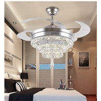 LED Crystal chandelier fan lights chandelier fan crystal lights living room minimalist restaurant modern fan with remote control
