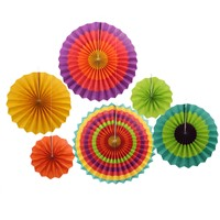 "6pcs/set 8"" 12"" 16"" Fiesta Colorful Paper Fans Round Wheel Disc for Party Wedding Event Home Decoration"