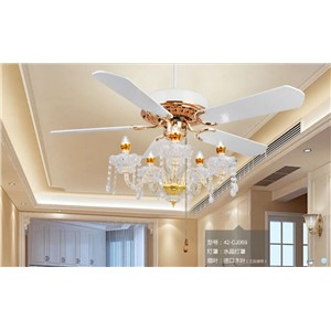 42inch Crystal fan lamp ceiling fan crystal light restaurant with candle LED light continental contracted American wind