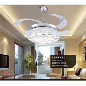 LED ceiling fan crystal lamp European bedroom modern electric fan light ceiling crystal invisible dining room ceiling fan