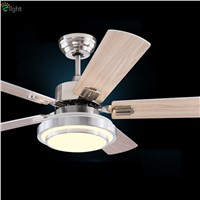 Modern Wood/Steel Leaf Led Ceiling Fans Lustre Chrome Dining Room Led Ceiling Fan Lamp Dimmable Ceiling Fan Lighting Fixtures