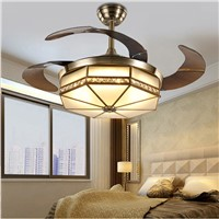 Ceiling Fans lamp LED 42 inch FUll Copper Frequency conversion motor Traditional ceiling fan light dimmer Remote control 85-265V