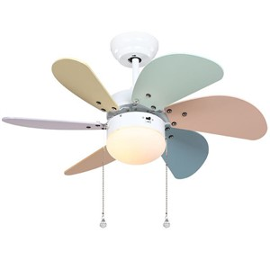 Colorful Wooden Fan blade Ceiling Fans Glass Lampshade touch panel, pendant cord Switchs Kid's study room  ceiling lamp fans