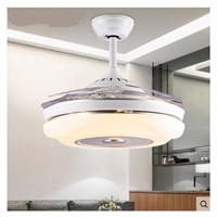 Restaurant stealth chandelier fan light modern bedroom living room fan lamp chandelier household chandelier fan with LED lamps