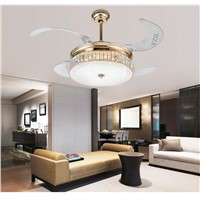 LED crystal folding fan lamp crystal ceiling light modern minimalist living room dining room bedroom ceiling fan lights 42inch