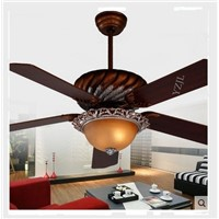 European American antique light chandelier fan light remote control Fan lights chandelier glass lampshade with remote control
