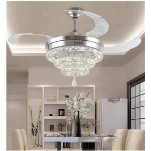 LED Crystal stealth ceiling fan lights living room minimalist restaurant modern fan light crystal lighting 42inch