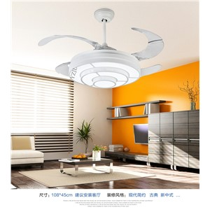 Simple stealth ceiling fan lights-white modern pastoral expansion ceiling fan ceiling light dining room fans LED study home