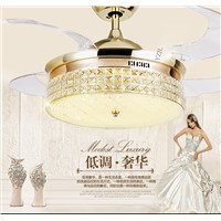 Remote control crystal ceiling Fan lamp 42inch living room dining room Minimalism modern Fan lights ceiling crystal LED fans