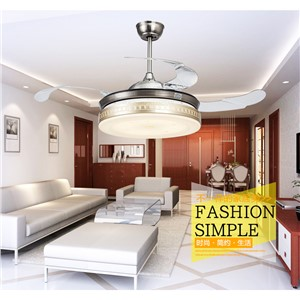 Living room dining room ceiling fans 42inch LED ceiling fan lights retractable Golden fan lamps ceiling with remote control