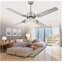 LED ceiling fan lights restaurant bedrooms modern fan lamps ceiling fans remote control simple fashion stainless iron leaves