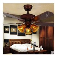 Chandelier fan lights remote control retro dining room chandelier fan light fan chandelier light American chandelier fan 42inch