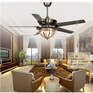 Continental antique ceiling fan ceiling lamp remote control simple modern copper cover dining room ceiling fan living room E27*3