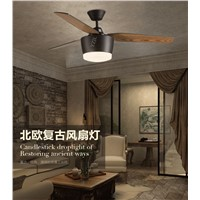 Continental modern minimalist ceiling fan light ceiling remote control leaves restaurant industry American fashion fan light