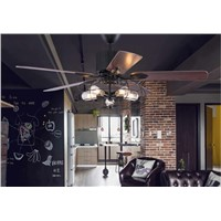 Loft industrial fan chandelier fan light vintage restaurant fan chandelier quiet home LED remote control