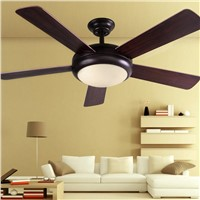 American country living room ceiling fan lights 48inch industrial fan LED light restaurant bedroom solid wood door leaf fans