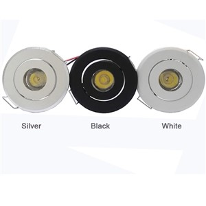 1W Led spotlight with Drivers AC85-265V Showcase Jewery Cabinet Lighting Black White Silver shell Nature white 2pcs/lot