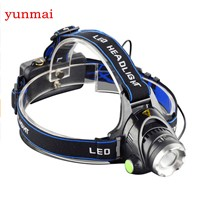 2500LM LED Headlamp CREE XML T6 3 Modes Rechargeable Headlight Head Lamp Spotlight For Fishing+Charger(US EU UK)+2 PCS 18650