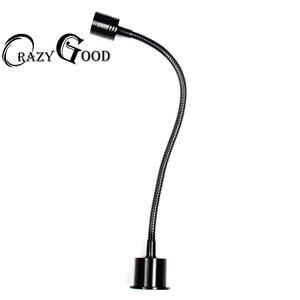 CrazyGood 3W 30 centimeters LED button switch, Bedroom sitting room lamp switch black, the light is soft The computer the ark
