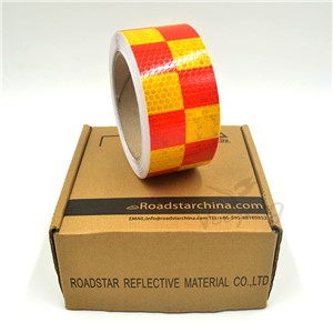 5cmx10m Shining Reflective Warning Self-Adhesive Stikcer with Red White Color Square Printing for car& motorcycle