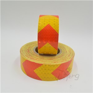 5cmx5m shining reflective warning self-adhesive stikcer with yellow red color arrow printing for car