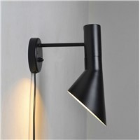Flush Mount Wall Lamp with Adjustable Metal Shade, Bedside Lamp