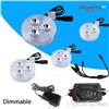 NEW RF control dimmable 4pcs DC 12v 3W LED Puck/Cabinet Light,LED spotlight+35cm connect wire +12v 96w RF led dimmer+12v 2a adap