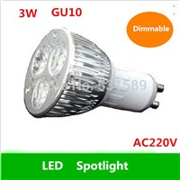 Free shipping  100pcs Dimmable LED High power GU10 3W led Light led Lamp led bulb spotlight  220V