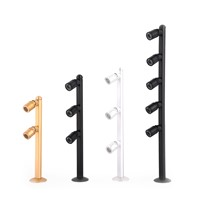 4PCS 2W/3W/5W LED spotlight Desk Stand Pole Post Lamp Spotlight Jewelry Phone Store Showcase Display Case chrome black AC220V
