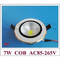 COB LED ceiling lamp 7W LED downlight down light lamp AC85-265V 7W  with blade radiator 3 year warranty free shipping