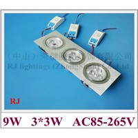 grille LED downlight down light ceiling lamp light indoor embeded install 9W (3*3W) high power LED bead AC85-265V aluminum CE