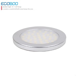 new top fashion aluminum3w led round under cabinet battery spot lights 9.5-30v warm white/cool white(2ps/lot)