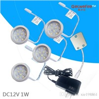 Free shipping DC 12v 4pcs 1W LED Puck/Cabinet Light,LED spotlight with 9pcs 2835 leds+1pcs connector line+12v 1a power adapter