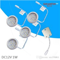 Nice DC 12v 4pcs 1W LED Puck/Cabinet Light,LED spotlight with 9pcs 2835 leds+1pcs connector line(without power supply)