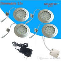 Recessed installation DC 12v 4pcs/lots 1.5W with 18pc 3528 leds LED Puck/Cabinet Light,LED spotlight+1PC connector line+1pc 12v1