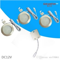 TOP type DC 12v 3pcs/lots 1.5W 100LM with 3pcs 5630 type leds,LED Puck/Cabinet Light,LED spotlight+1PC connector line,