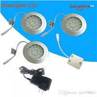 12v DC Recessed installation 3pcs/lots 1.5W with 18pc 3528 leds LED Puck/Cabinet Light,LED spotlight+1PC connector line+1pc 12v1