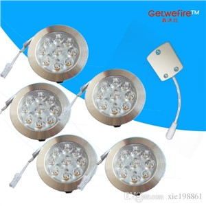 Recessed installation 12v DC 5pcs/lots 1W with 9pcs 3014 leds LED Puck/Cabinet Light,LED spotlight+1pc connector line free shipp