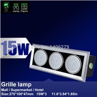 15W*3 LED Grille lamp AC85-265V ceiling lamp energy saving LED downlight spotlight