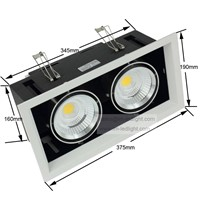 Dimmable 30W double COB Led down lamp 2 *15 w Dimmable LED ceiling grille lamp double COB lamp AC85-260V