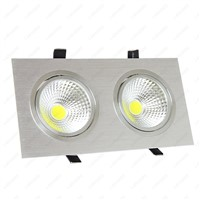 High Power 6W/10W/14W/20W/30W LED COB Recessed Light Dimmable/N Dual Head Grille Lamp Hotel Living Room Silver Shell