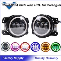 1 Pair Car Styling 4 Inch Daymaker LED Fog Lights For Jeep Wrangler Auto Accessories Driving Headlamp With Color Halo Angel Eyes