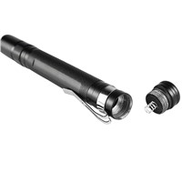 CREE-XPE LED 500 LM Flashlight Pocket Torch Light 1 Mode Telescopic Zoomable Tail-Cap Switch With Clip (AAA Battery Power) z40