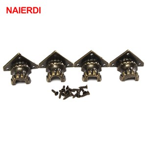 NAIERDI 4pcs Antique Foot Brass Jewelry Wood Box Decorative Feet Leg Corner Bracket Cabinet Protector For Furniture Hardware