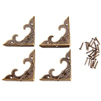 20Pc Antique Brass Furniture Corner Brackets Jewelry Gift Box Wood Case Decorative Feet Leg Metal Corner Protector for Furniture