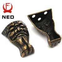 NED Antique Brass Jewelry Chest Wood Box Cabinet Decorative Feet Leg Corner Protector For Furniture Metal Crafts Hardware