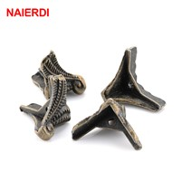 10PCS NAIERDI Antique Corner Protector Bronze Jewelry Chest Box Wooden Case Decorative Feet Leg Metal Corner Bracket Hardware