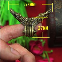 57mmX27mm Antique Bronze Gift Boxes Corner Protector Wooden Box Furniture chest Foot Decorative Corner
