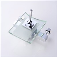 Glass and brass faucet wall mounted basin tap for bathroom single handle modern waterfall bathtub faucet LH-8003